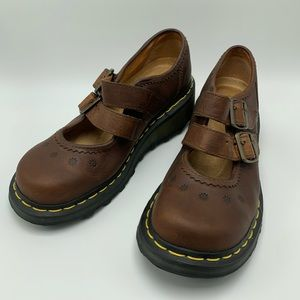 Dr Martens Mary Janes Double Buckle Flowers